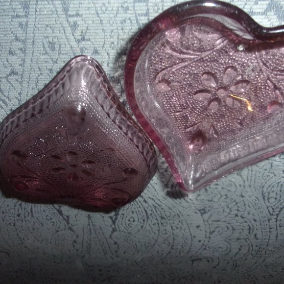 Vintage Pair of Deep Rose Glass Hearts